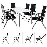 CASARIA Conjunto de 1 Mesa y 6 sillas de Aluminio Bern con...